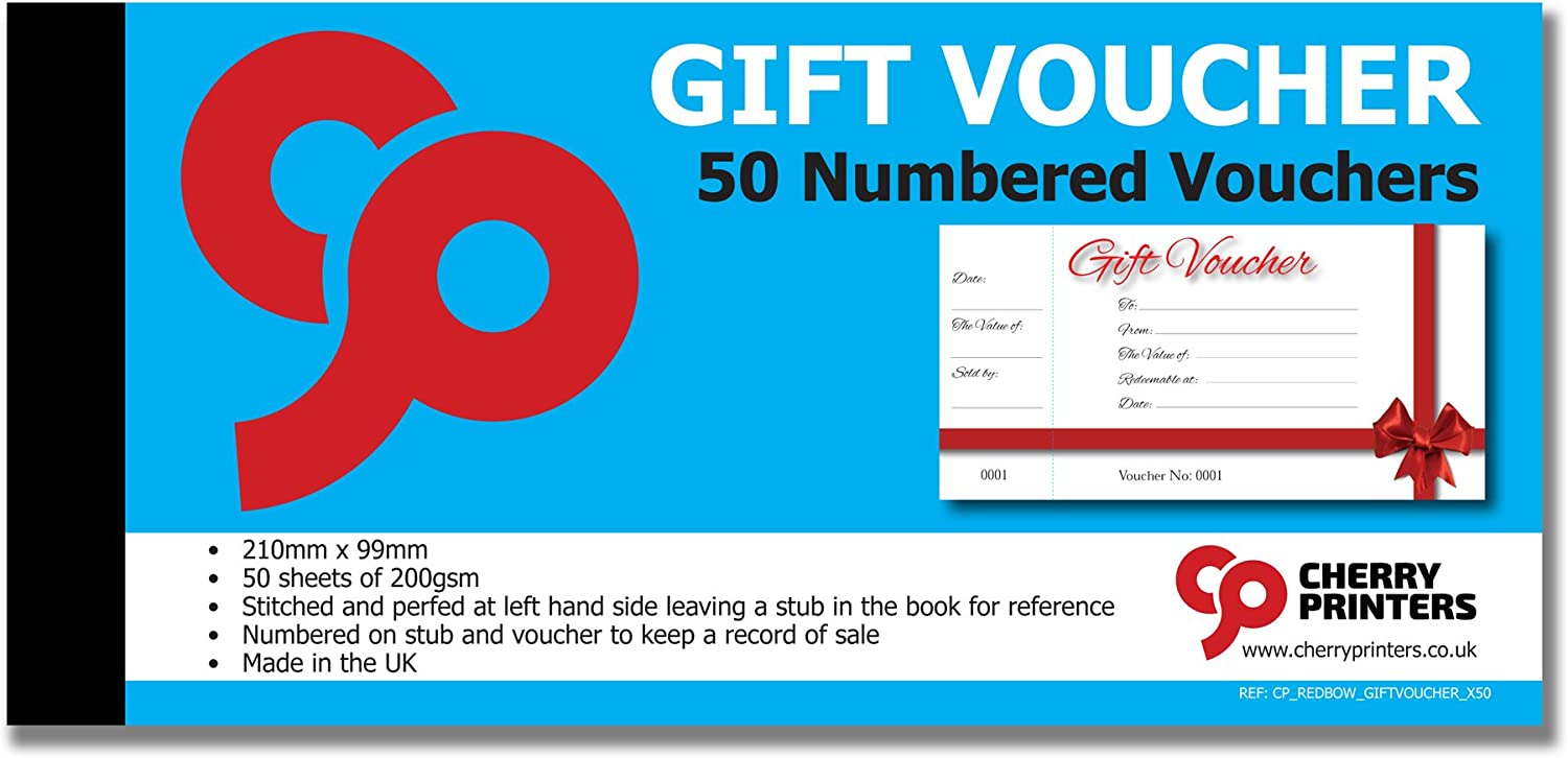 Red Bow Gift Voucher Book with stub 50pages 200gsm 99mm x 210mm
