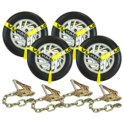 VULCAN Lasso Style Auto Tie Down with Chain Anchors - 2 Inch x 96 Inch, 4 Pack - Classic Yellow - 3,300 Pound Safe Working Load: Automotive