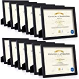 RR ROUND RICH DESIGN Certificate Frames Document Frame 12PK Made of Solid Wood HD Glass and Display Diplomas 8.5x11 inch…
