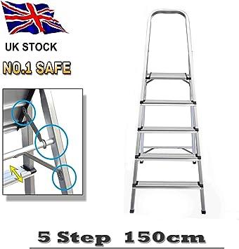 Escalera de plataforma plegable de aluminio de 5 peldaños, escalera portátil para el hogar, ligera, 3,4 kg, máx. Carga de 150 kg con escalones antideslizantes: Amazon.es: Bricolaje y herramientas