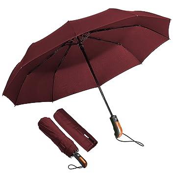 ECHOICE Paraguas Plegable Hombre Automático Antiviento, Paraguas Negro Compacto Resistente al Viento, Paraguas de