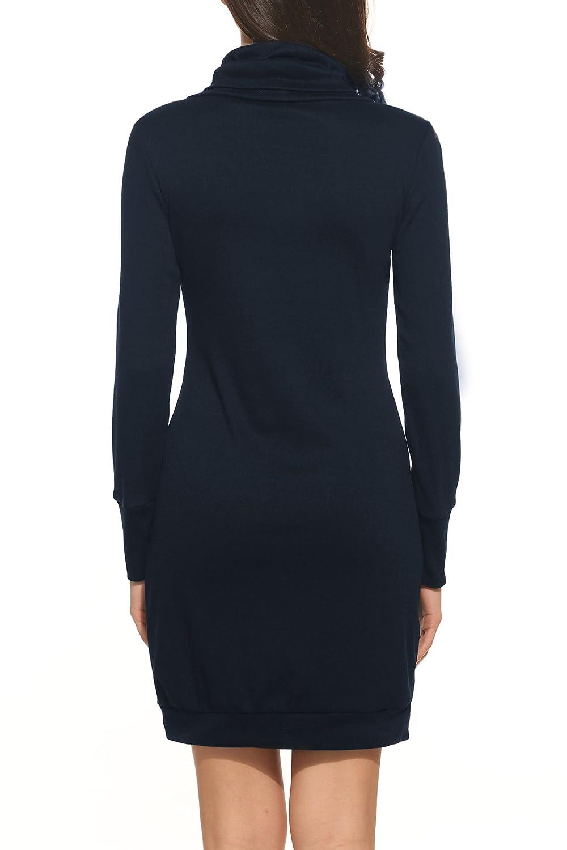 6ef8f2635ef Zeagoo Damen Casual Kleid Etuikleid Langarm Kleid Kurz Strickkleid  Rollkragen Pullover Hoodie  Amazon.de  Bekleidung