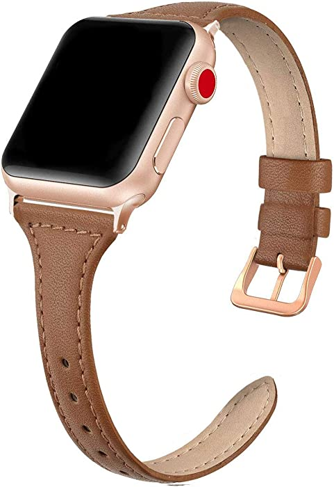 SWEES Leather Band Compatible for iWatch 38mm 40mm, Slim Thin Dressy Elegant Genuine Leather Strap Compatible for iWatch Series 6, 5, 4, 3, 2, 1, SE, Sport & Edition Women, Brown