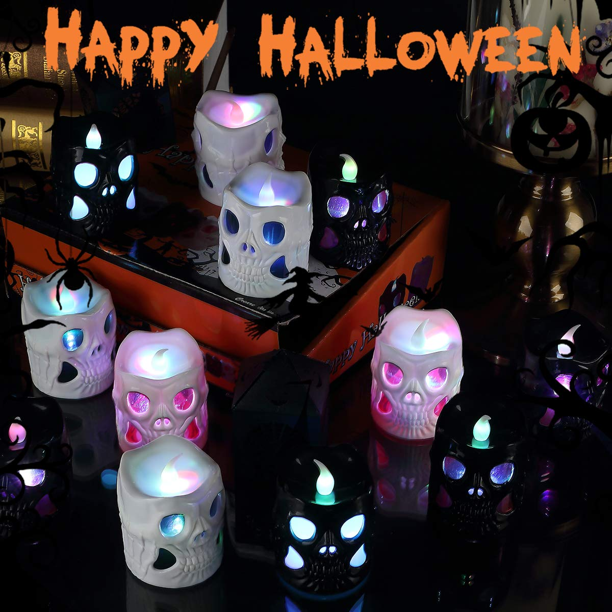 Halloween Lights LED Battery Operated 3D Halloween Lights, Halloween Skeleton Lights Decoration Indoor Outdoor Home Garden Holiday Party(12 Pack) catnee