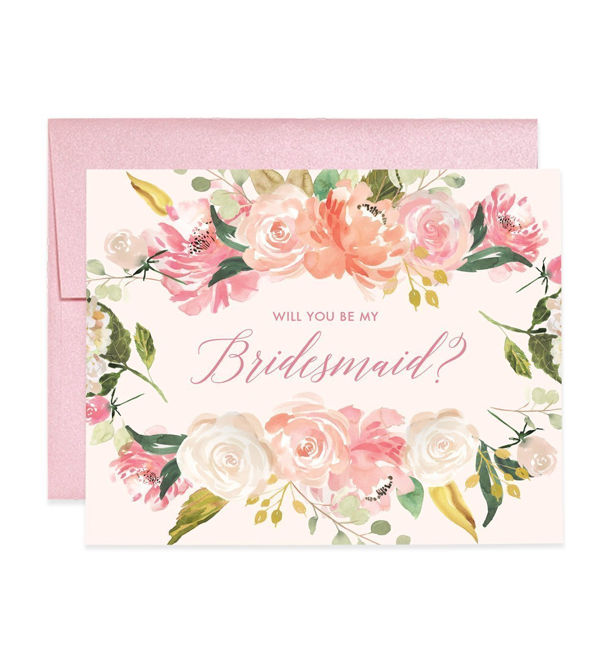 Pretty Blush Pink Bridesmaid Proposal Cards Will You Be My Brides Maid Box Pack (Set of 5) Floral Watercolor Five Engagement Wedding Bridal Party Cards Light Pink Shimmer Metallic Envelopes CW0003-1