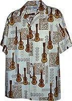 Hawaiian Aloha Shirt Tribal Ukulele Music White (Made in Hawaii)
