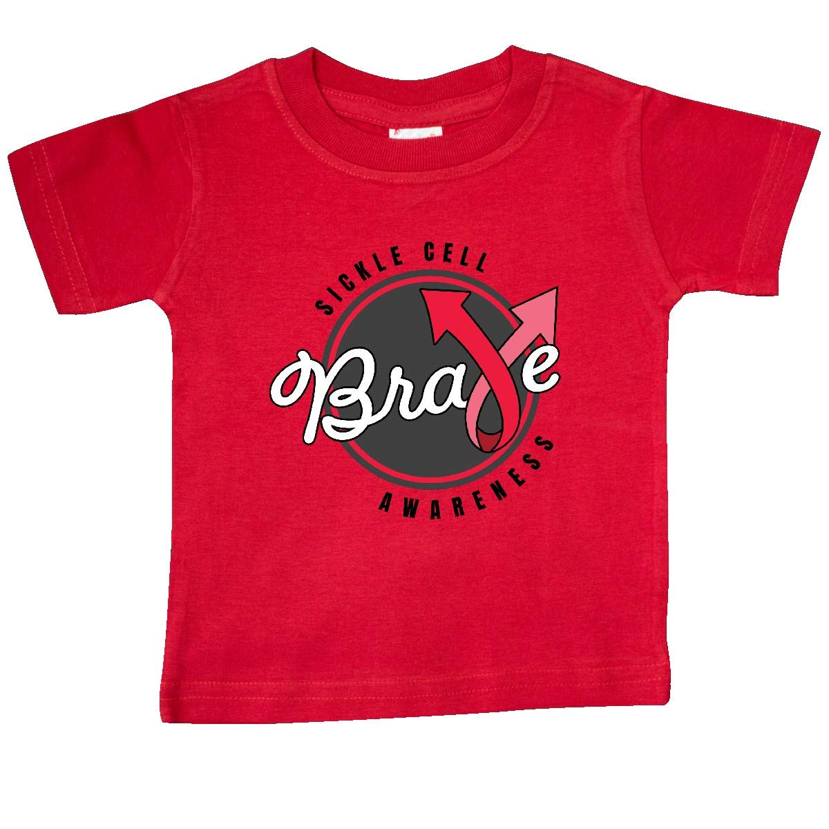 inktastic Sickle Cell Awareness Brave with Red Arro Ribbon Baby T-Shirt