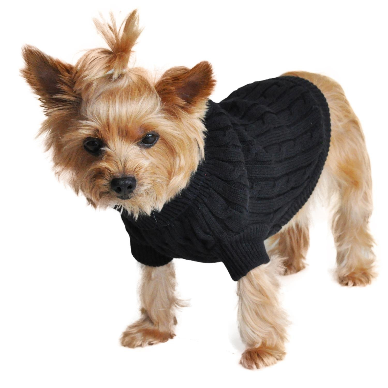 Doggie Design Combed Cotton Cable Knit Dog Sweater - Jet Black