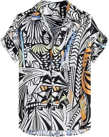Camisa Casual Suelta de Manga Corta Estampado para Hombre Verano Estampada Top Shirt Impresa Slim fit Camisas Casuales Transpirables: Amazon.es: Ropa y accesorios