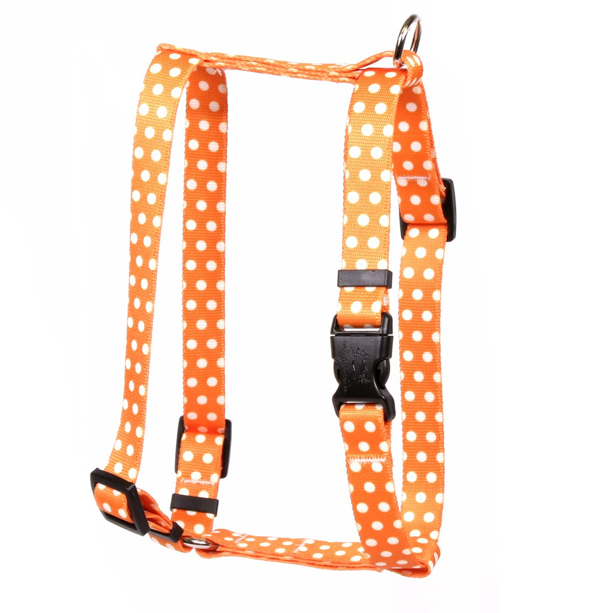 Yellow Dog Design Orange Polka Dot Roman Style H Dog Harness, X-Large-1'' Wide and fits Chest of 28 to 36''