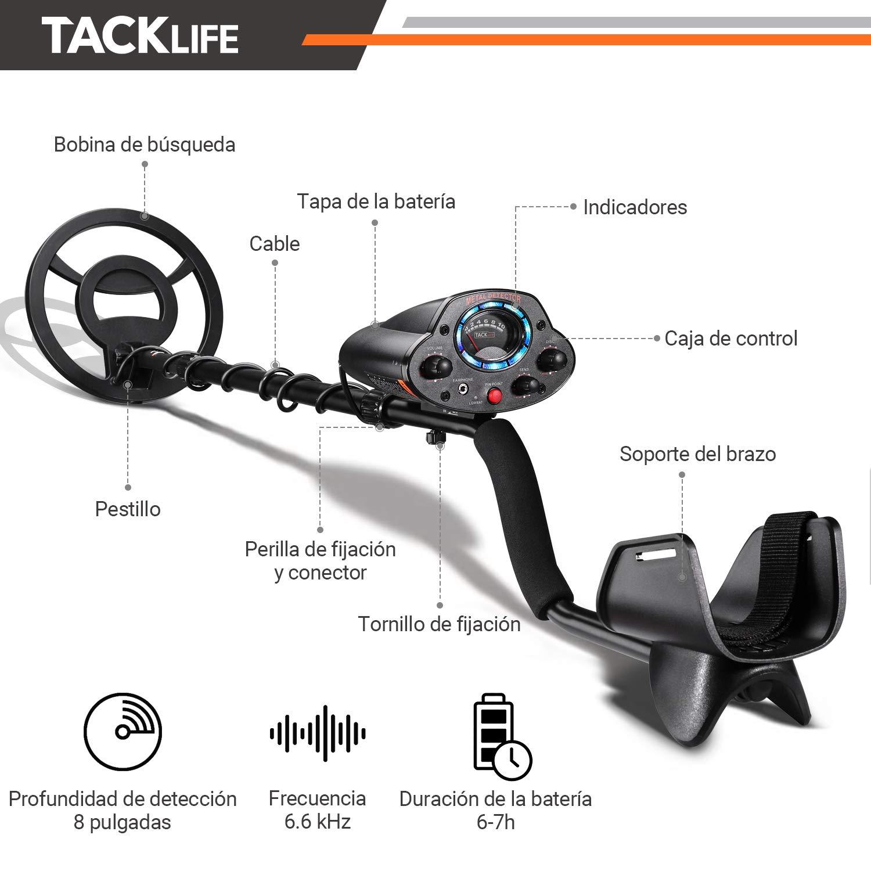 Pala y Bater/ías Incluidas TACKLIFE Detector Profesional Detector de Metales Sensibilidad y Controlador de Volumen para Adultos y Ni/ños Ajustable y IP68 Impermeable Funci/ón de Precisi/ón MMD04