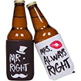 Funny Wedding Gifts - Mr. Right and Mrs. Always Right Novelty Beer Can Holder Combo - Engagement Gift for Couples