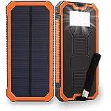 【2018新登場】ソーラーバッテリー elzle 15000mAh超大容量 ソーラーチャージャー ソーラーパネル スマートフォン ソーラー充電器 太陽エネルギーパネル電池充電器 2USBポート(1A+2A)急速充電 高輝度6LEDライト照明 SOS救急信号灯搭載 耐衝撃性 滑り止め 軽量 耐震 UL認証 ROSH認証 旅行/ハイキング/登山/地震/災害時に活躍 IOS/Android/スマホ/タブレット/ゲーム機等対応 (オレンジ)