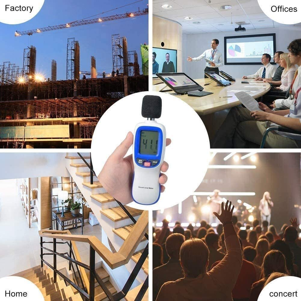 Noise Detector Digital Sound Level Meter LCD Display Precise Portable Sound Level Meter Decibel Monitoring Tester Measuring Audio Noise 30dBA ~ 130dBA