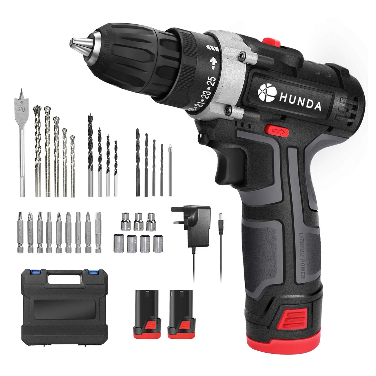 Electric Drill Set, 12.8V Cordless Drill Driver with 2Pcs 1300Ah Batteries, Household Tool Kit Portable Screwdriver – 2 Adjustable Speeds, 25 1 Torque Settings, LED Light, 31 Pcs Accessory