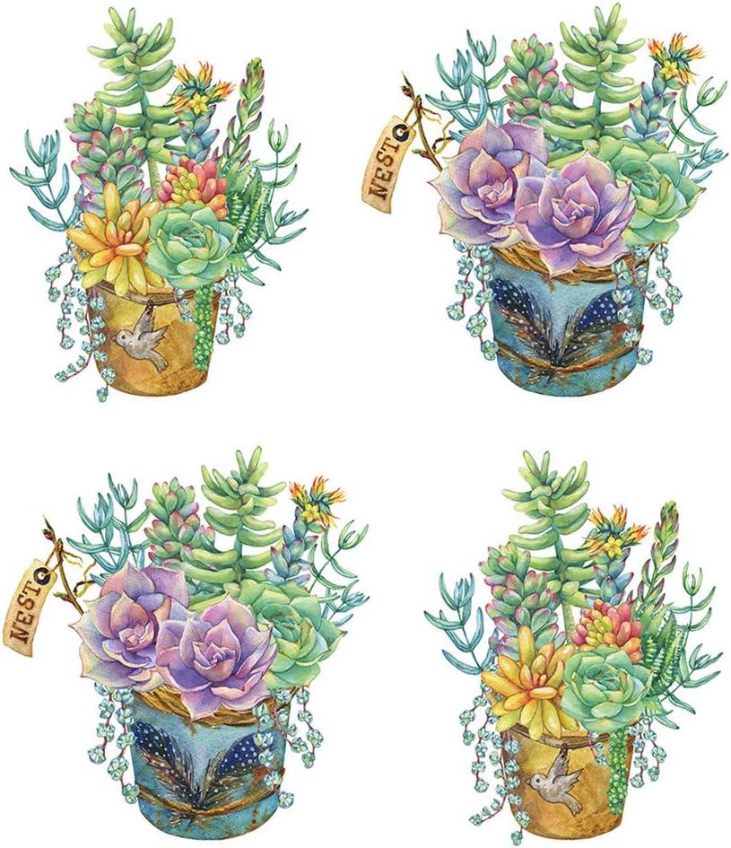 Jascaela 4 Pcs Flowers Pot Decals Green Succulent Plant Wall Sticker Vines Colorful Art Home Decor for Living Room Bedroom Kitchen Refrigerator Window
