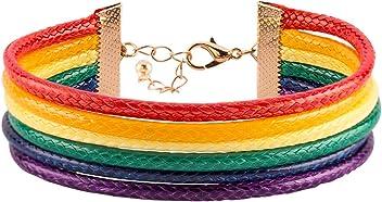 SIX Pride - Armschmuck, Lederimitat Armband in Regenbogen Farben (748-353)