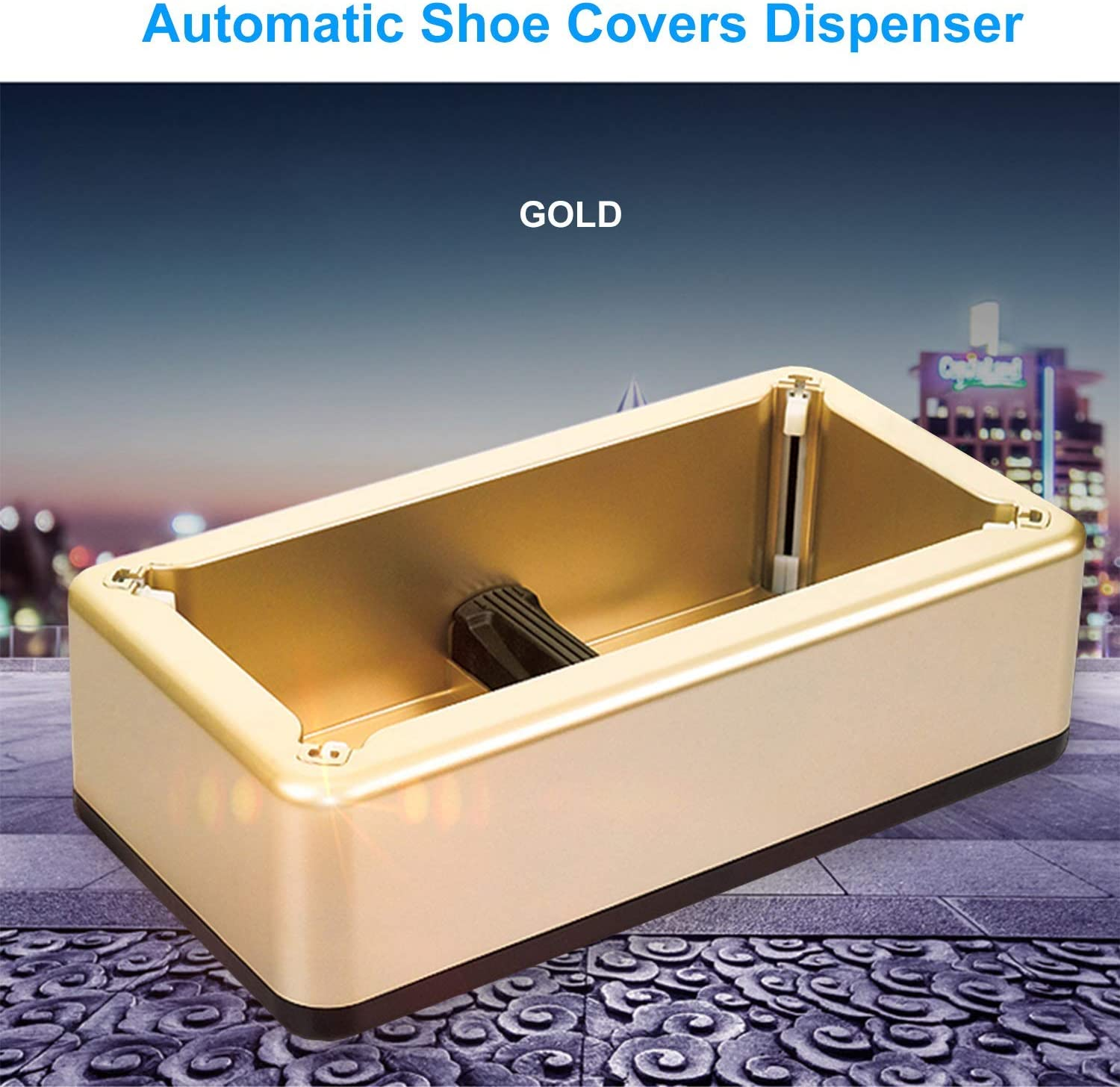 Automatic Shoe Covers Dispenser Rose Gold Shoe Covers Machine with 100 Pcs Disposable Plastic Durable Water Resistant Shoe Covers Perfect for Indoor Outdoor