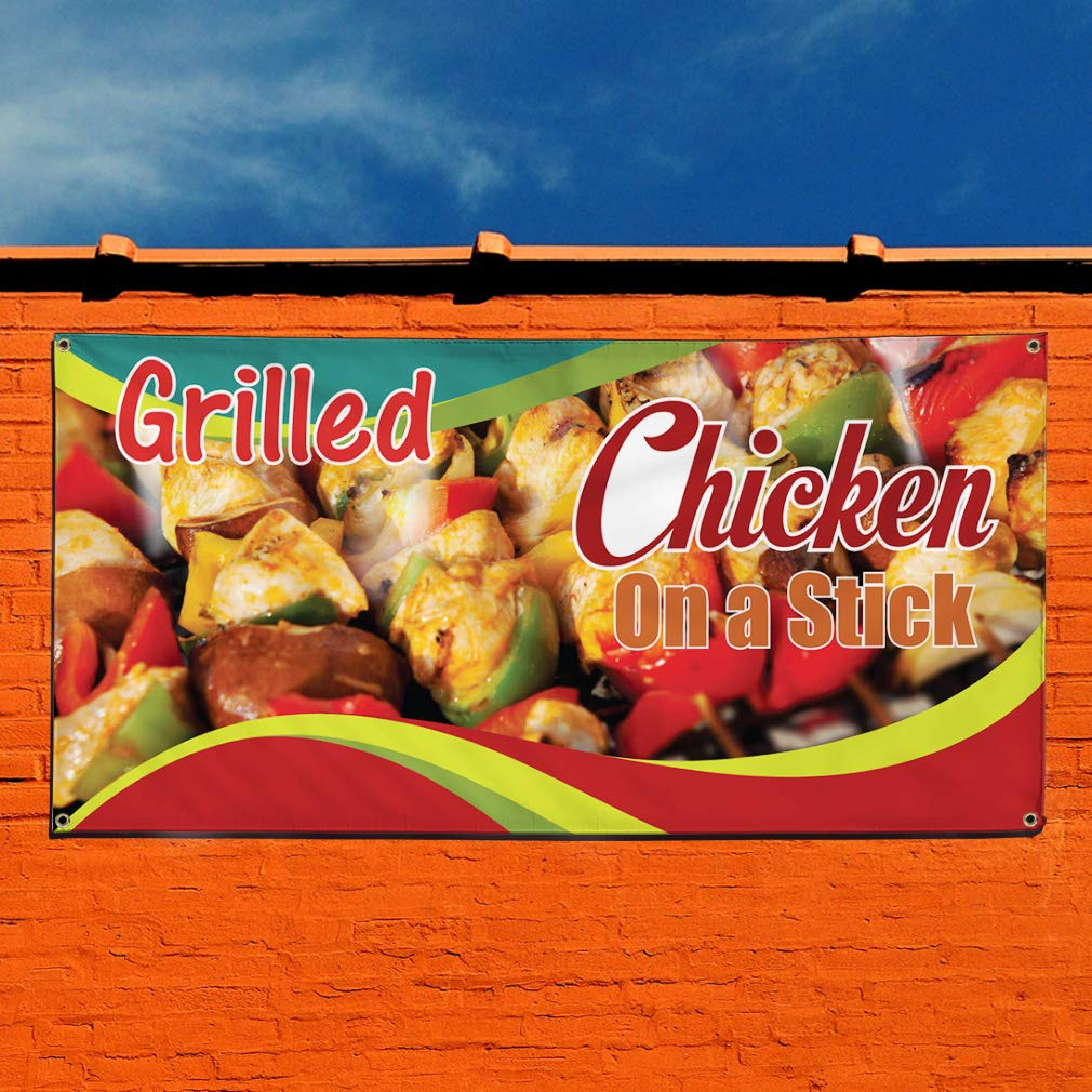 Set of 3 24inx60in 4 Grommets Vinyl Banner Sign Grilled Chicken On A Stick #1 Outdoor Marketing Advertising red Multiple Sizes Available
