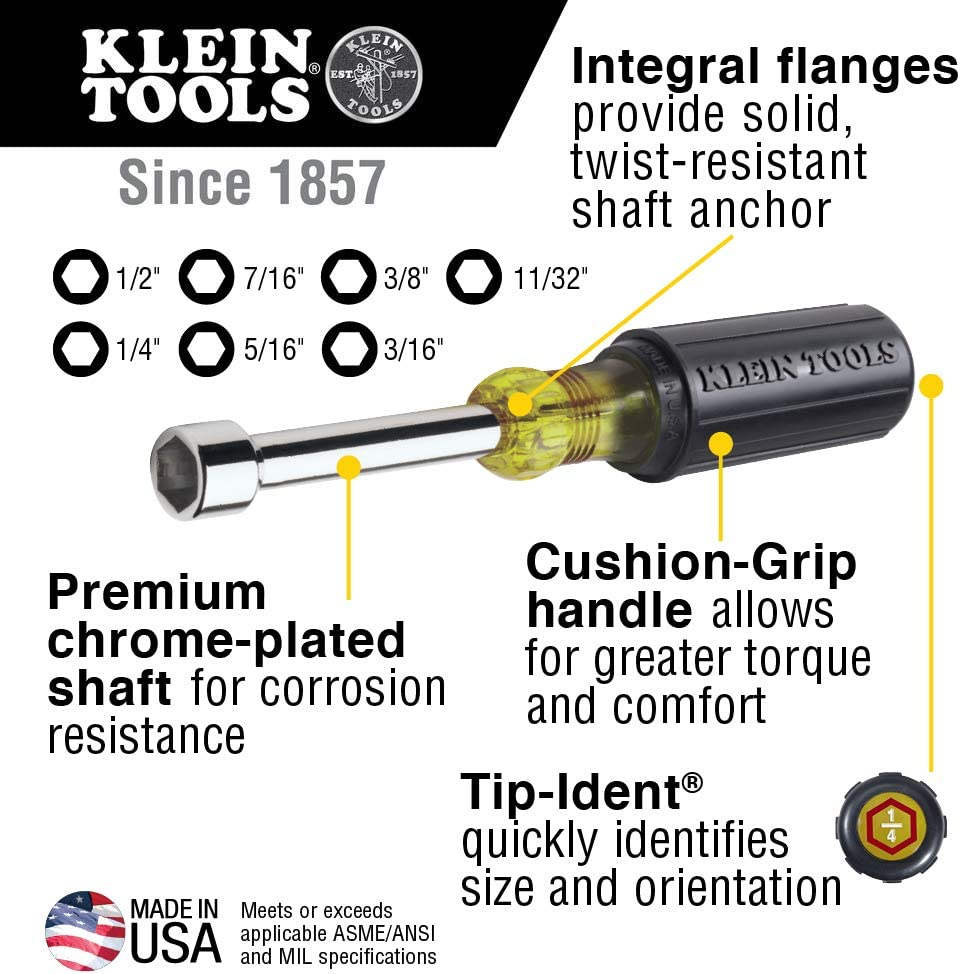 Klein Tools 647 Hollow Shaft Nut Driver Set with Chrome-Plated 6-Inch Shafts and Cushion Grip Handles - -