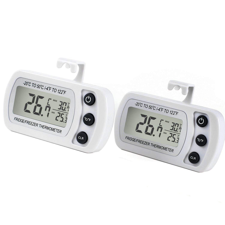 Unigear Digitales Kühlschrankthermometer wasserabweisend Gefrierschrankthermometer für Gefrierschrank, Kühlschrank, Tiefkühltruhe, Weinkühlschrank, Minibar (Schwarz, 1) Kühlschrank Tiefkühltruhe Weinkühlschrank