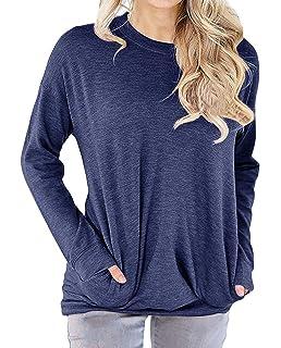44d76d42c37 lymanchi Women Round Neck Sweatshirt Shirt Pocket Long Sleeve Loose Baggy  Pullover Tunic Top