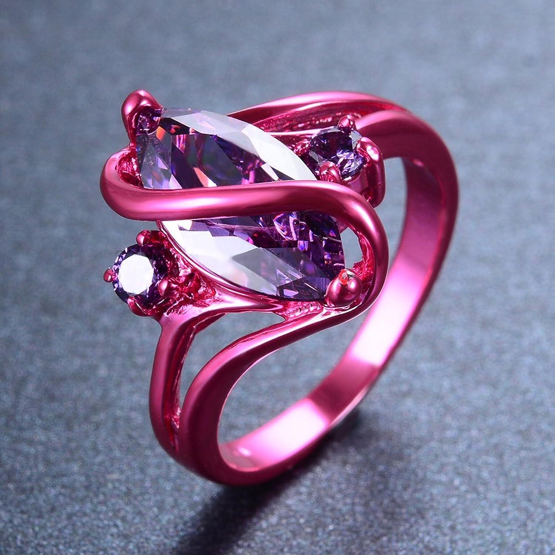 Amazon.com: RongXing Jewelry 2016 New Amethyst Diamond Ring,14KT ...