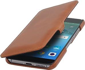 StilGut Book Type avec Clip, Housse en Cuir pour Huawei Nova. Etui de Protection à Ouverture latérale avec Fermeture clipsée, Cognac