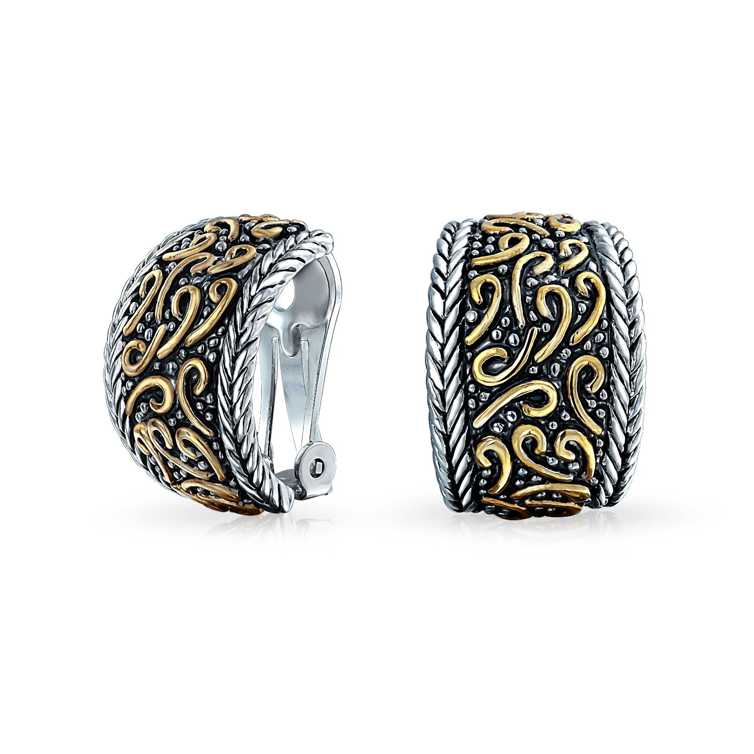 Huggie Hoop Clip On Earrings Bali Style Swirl Two Tone Rhodium Plated Gold Plated Brass