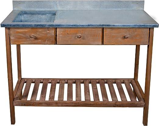 Mesa de jardín Macetero mesa rústico mesa fregadero Real mesa auxiliar de madera mesa de trabajo 100 x 84 x 44 cm: Amazon.es: Jardín