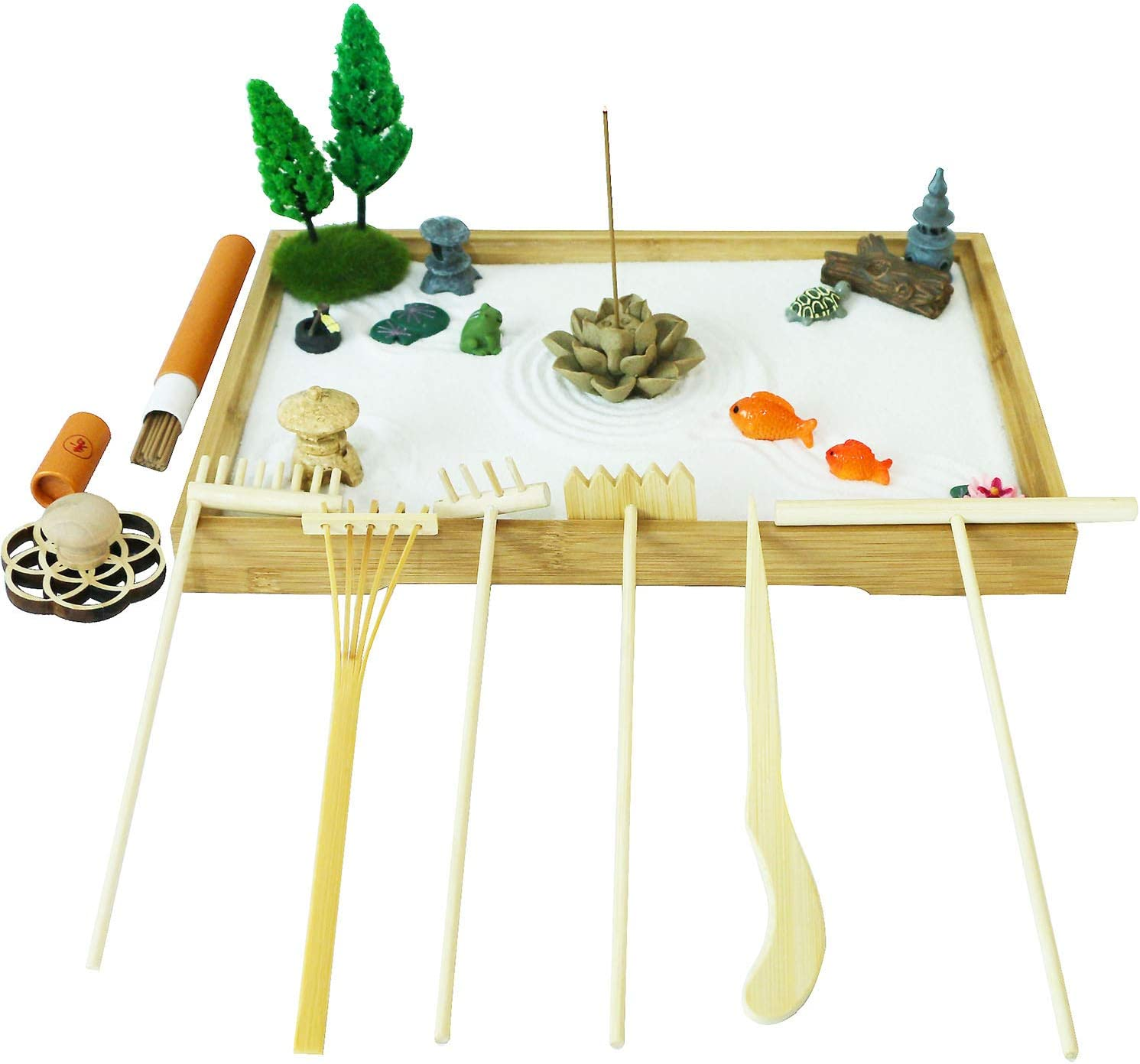 Tabletop Meditation Zen Garden Gifts – Japanese Calming Miniature Desktop Rock Sand Set Decor Indoor Office Relaxation Sandbox Kits Tools Accessories Bamboo Tray Stamp Rake Pagoda Bonsai Tree Plant