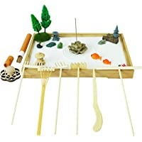 Tabletop Meditation Zen Garden Gifts – Japanese Calming Miniature Desktop Rock Sand Set Decor Indoor Office Relaxation Sandbox Kits Tools Accessories Bamboo Tray Stamp Rake Pagoda Bonsai Tree Plant