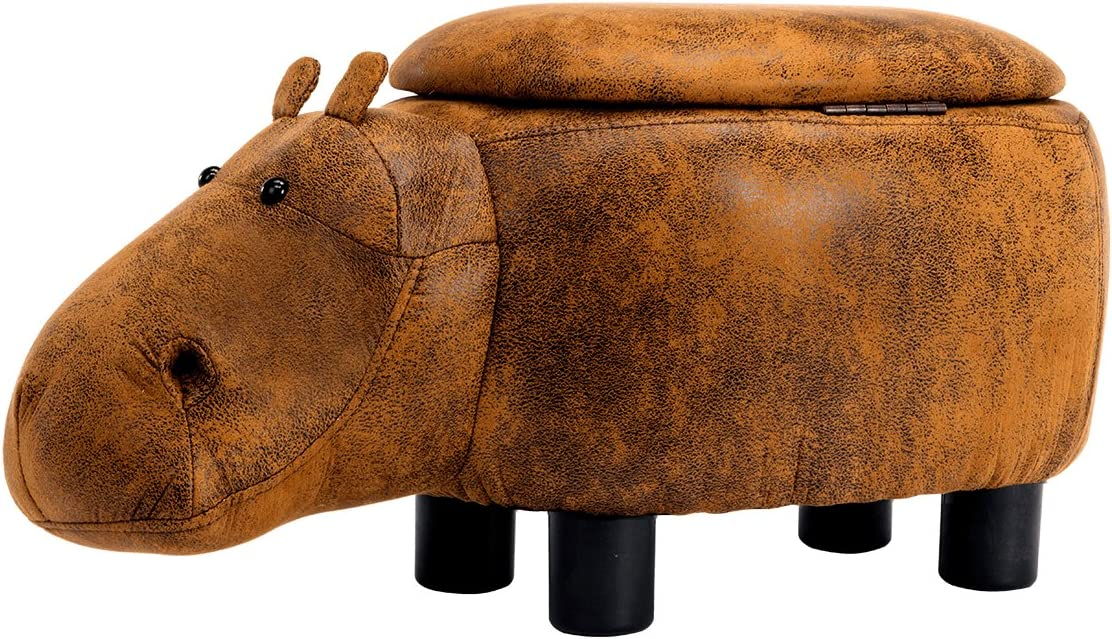Guteen Upholstered Ride-on Toy Seat Storage Ottoman Footrest Stool with Vivid Adorable Animal-Like Features Brown Hippo