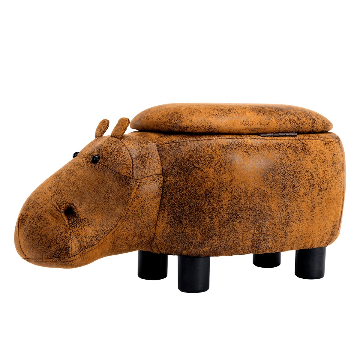 Guteen Upholstered Ride-on Toy Seat Storage Ottoman Footrest Stool with Vivid Adorable Animal-Like Features(Brown Hippo)
