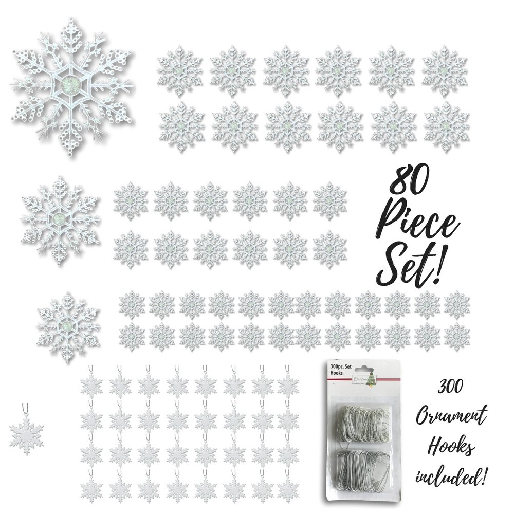 Snowflake Christmas Ornaments - Set of 80 Snowflakes - 2''D White Snowflakes - 4''D Clear Iridescent Snowflakes - 5''D Clear Iridescent Snowflakes - 6''D Clear Iridescent Snowflakes