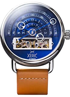 Xeric Mens Automatic Stainless Steel and Leather Watch, Color:Tan (Model: HLG