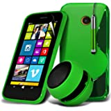 ONX3® 4-IN-1 BUMPER GIFT SET - Nokia Lumia 630/635 S line Wave Gel Case Skin Cover + 3.5MM Portable Mini Capsule Speaker + Retractable Touchscreen Stylus Pen + LCD Screen Protector Guard (Green)