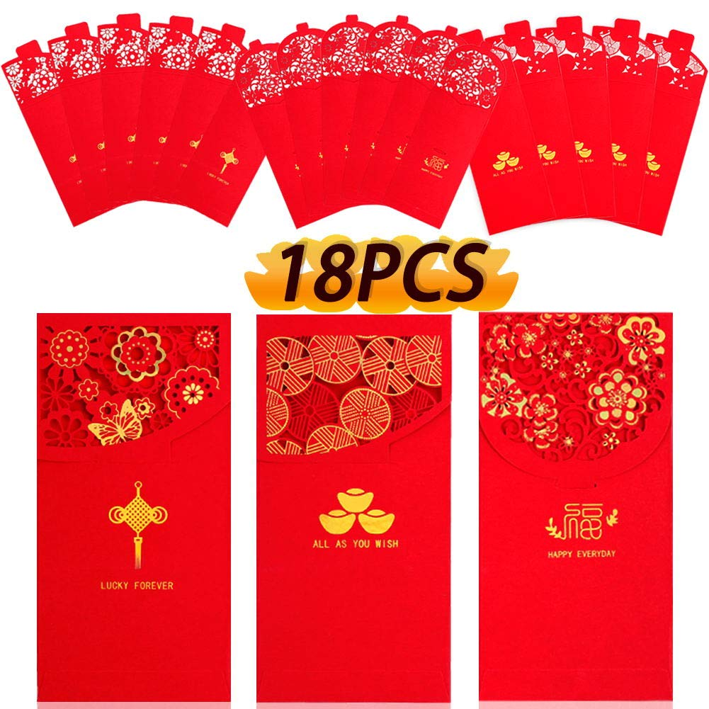 Chinese New Year Red Envelopes Lucky Money Pockets HongBao for Spring Festival, New Year, Birthday, Wedding, Bussiness…