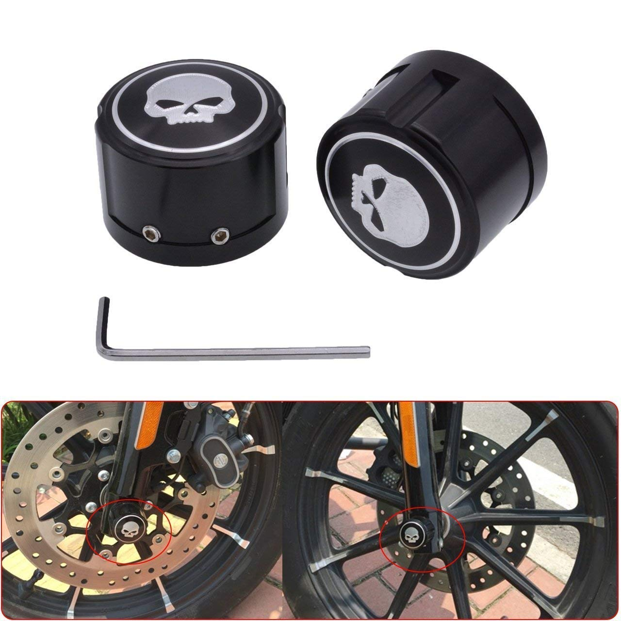 Lisyline Black Skull Front Axle Nut Cover Cap for Harley Softail Dyna V-Rod Sportster 883 XL1200 X48 Electra Street Glide