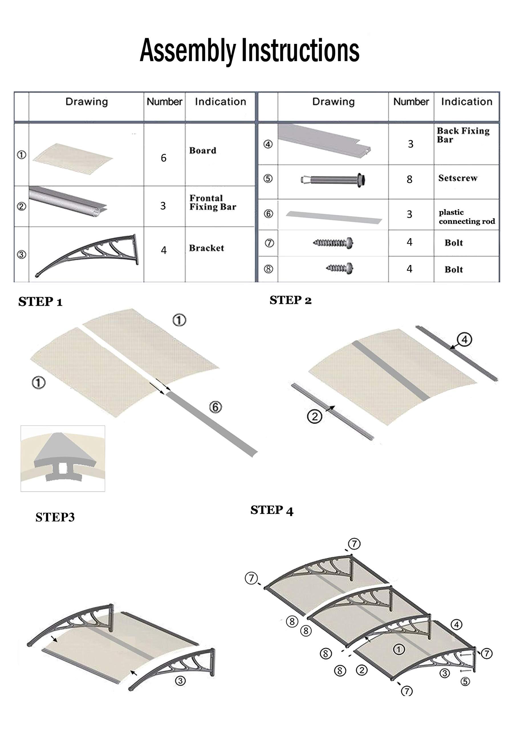MCombo 39''×116''/39''x 78'' Window Overhead Door Awning Patio Outdoor Polycarbonate Cover Front Door Rain Sun Shetter Garden Canopy Hollow Sheet (40''x120'', Dark Brown Canopy/Black Bracket) by MCombo (Image #6)