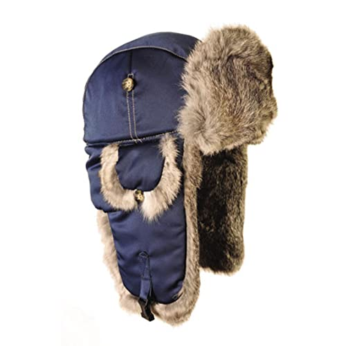 Mad Bomber Original Balaclavas Headwear, Small, Khaki with Brown Rabbit Fur