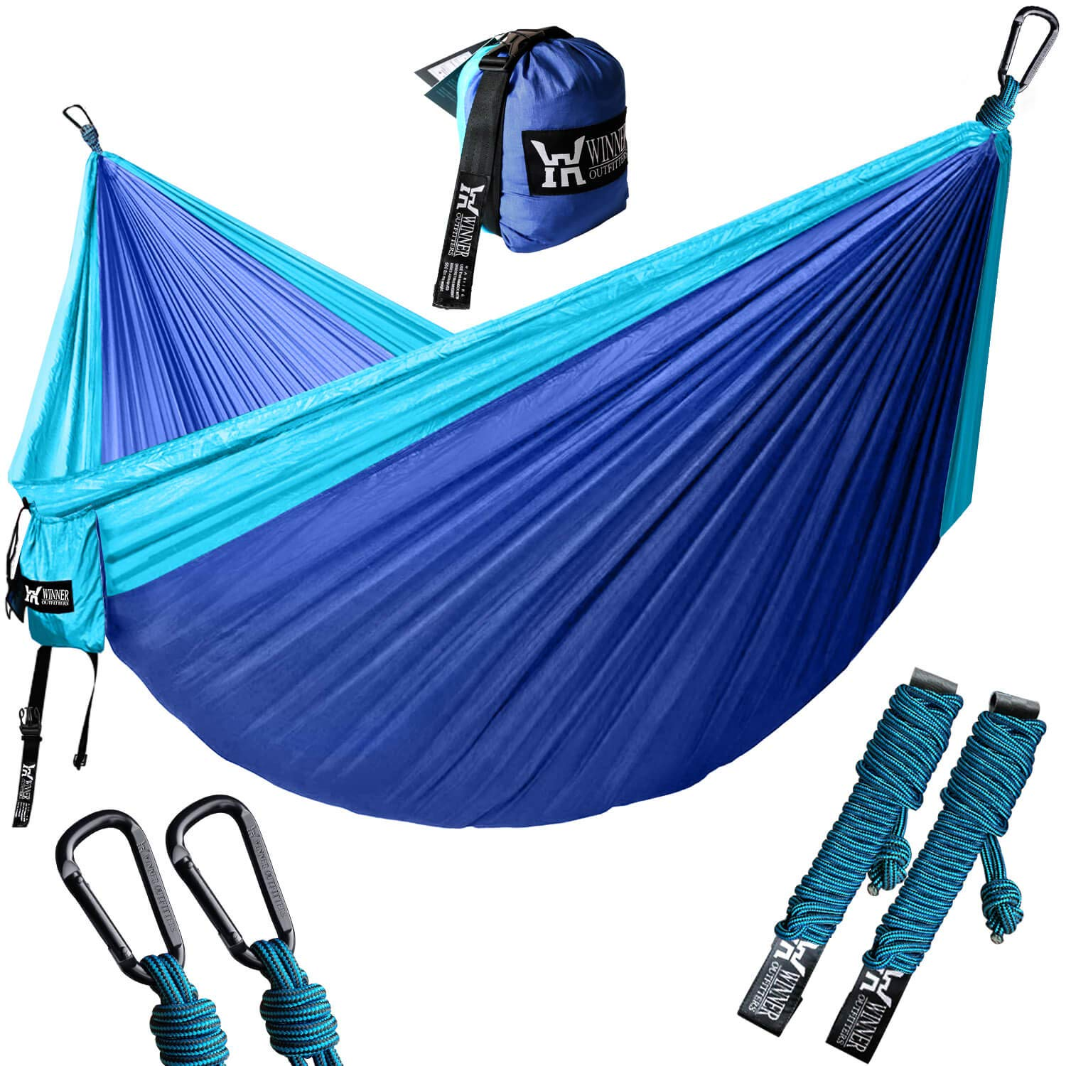 WINNER OUTFITTERS Double Camping Hammock - Lightweight Nylon Portable Hammock, Best Parachute Double Hammock for Backpacking, Camping, Travel, Beach, Yard. 118''(L) x 78''(W), Sky Blue/Blue Color by WINNER OUTFITTERS