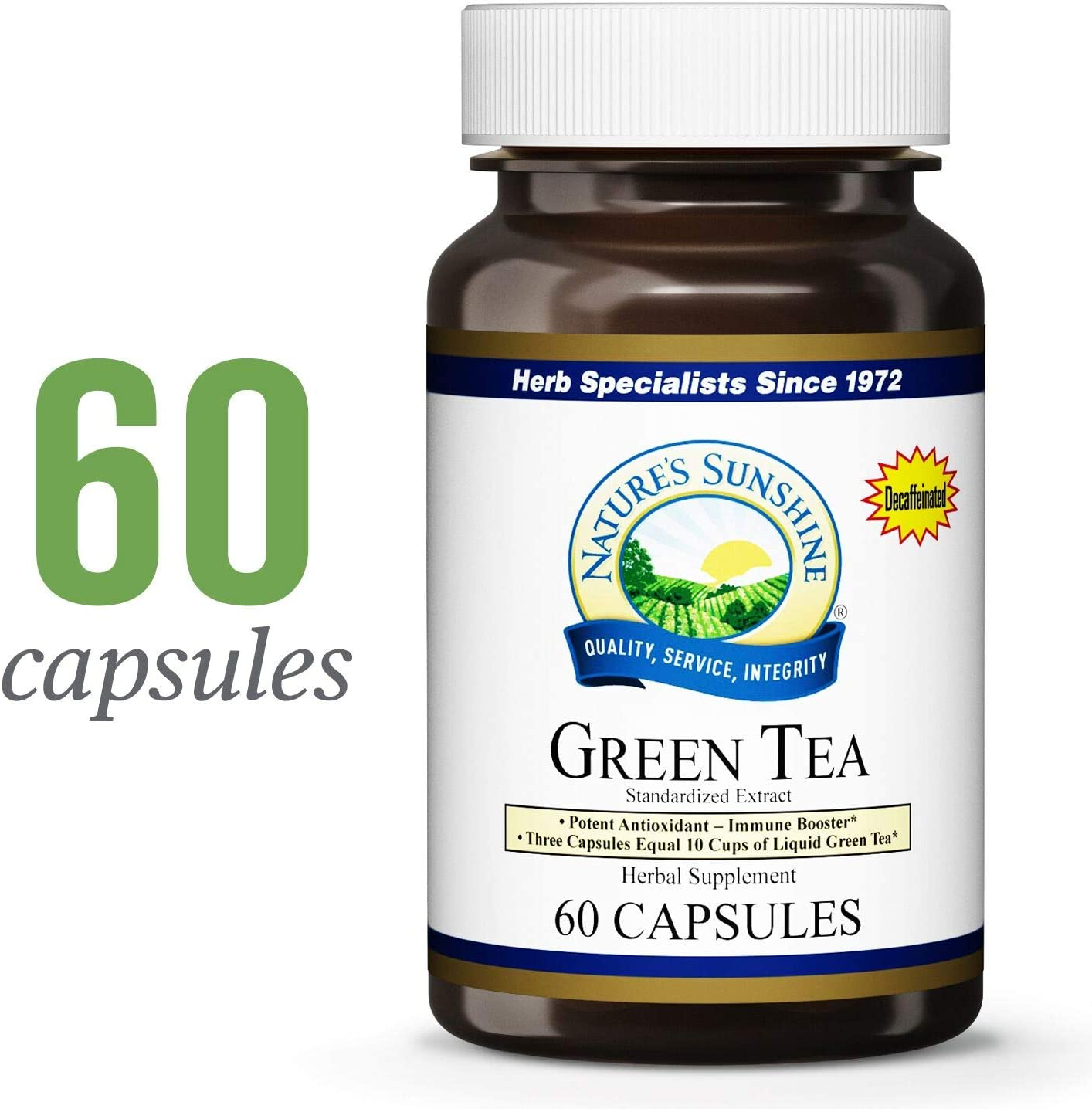 Nature s Sunshine Green Tea Extract, 60 Capsules Supports Cholesterol Levels, Helps Maintain Already Normal Blood Flow, and Provides Antioxidant Properties