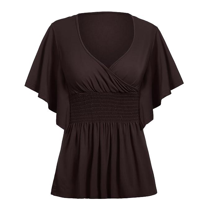 cd6c7e74b70 Women V-Neck Short Batwing Sleeve High Elastic Waist Tunic T-Shirt Top