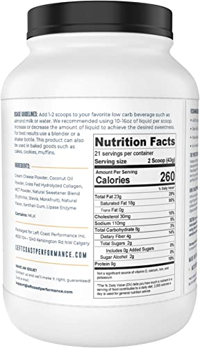 Cheesecake Keto Meal Replacement Shake 2lbs – Low Carb Keto Protein Powder Shake Mix, High Fat Protein Shake with MCTs, Collagen Peptides and Real USA Cream Cheese