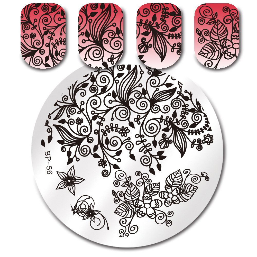 Born Pretty Nail Art Stamping Template Flower Leaves Design Image Plate for Manicure Print DIY Tool BP-56