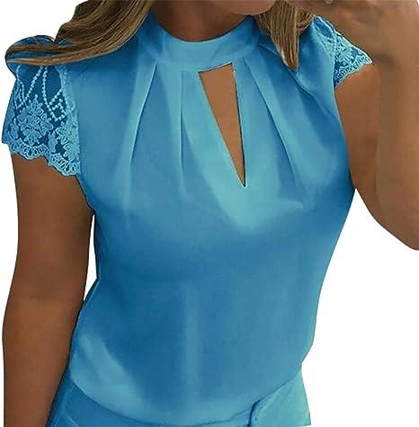 Proumy Blusa con Collar Camiseta Sólida de Mujer Camisa Floral Apretada Chaleco con Manga de Encaje Tops de Talla Grande Traje de Cuello V Hueco Transparente: Amazon.es: Ropa y accesorios