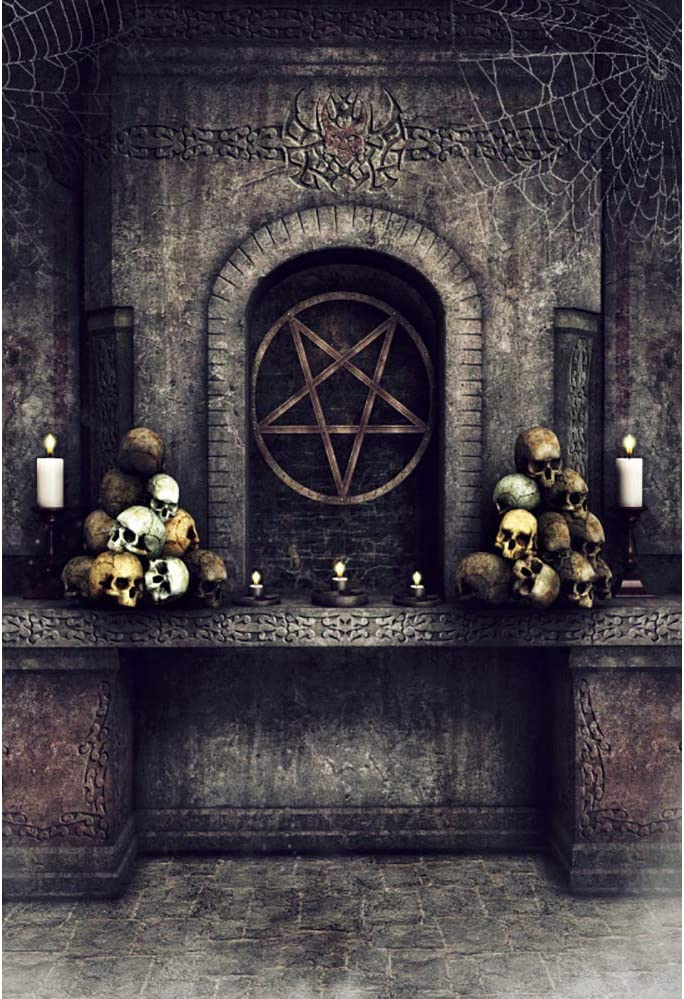 YEELE 5x7ft Skull Horror Backdrop Dark Stone Altar with Candles Cobwebs and an Occult Pentacle Photography Background Halloween Event Kids Adults Artistic Portrait Photo Shooting Props