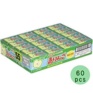 Green Apple Taste Bubble Gum 60pcs 0.2oz Japanese Dagashi Marukawaseika Ninjapo