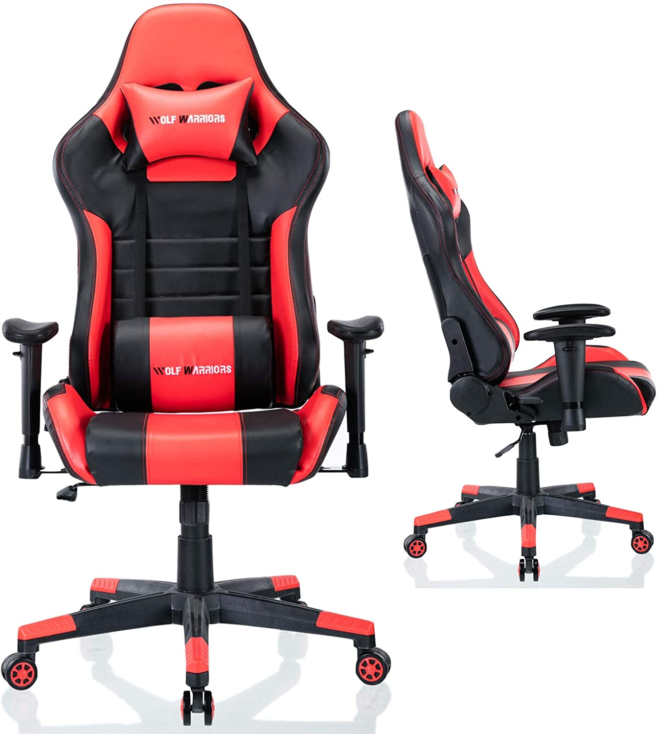 Memory Foam Computer Gaming Chair BIFMA Certified Reclining Gaming Chair Racing Entertainment Video Game Chair with Removable Headrest and High Back Cushion Tilt E-Sports Chair Without Footrest, Red//Black